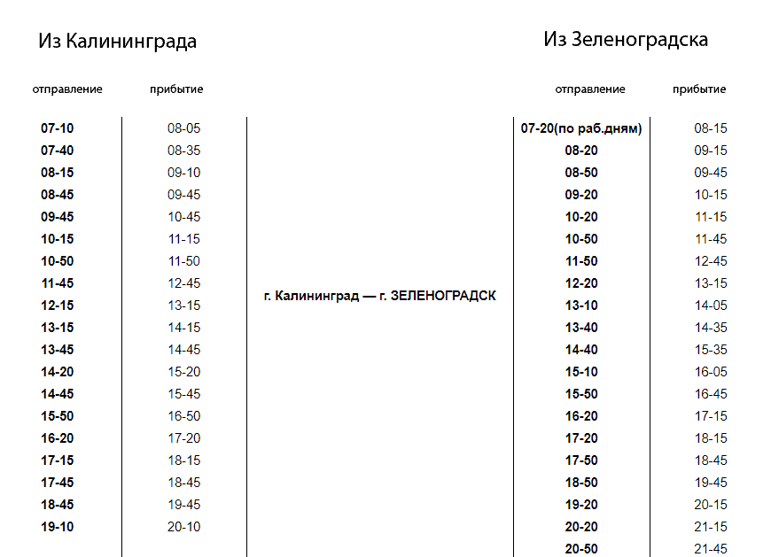 Расписание автобуса 140 Калининград - Зеленоградск