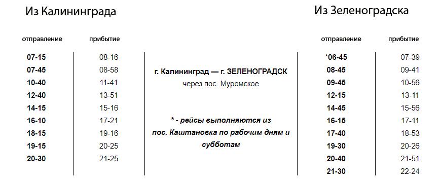 Расписание автобуса 114 Калининград - Зеленоградск