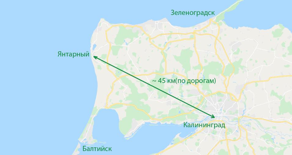 Пляж Янтарный на карте