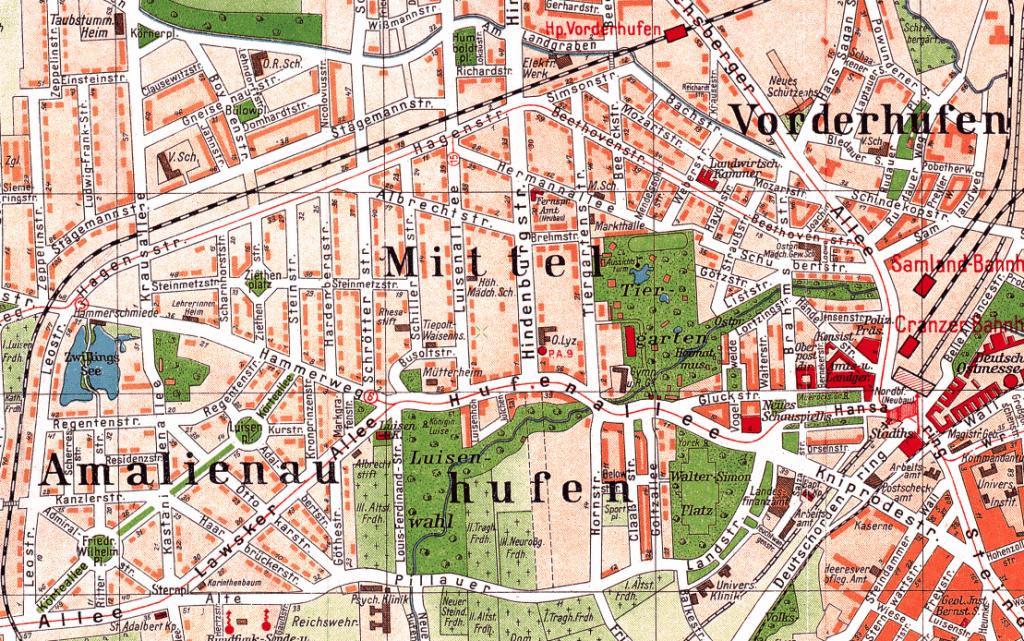 Карта районов Амалиенау и Хуфен 1928 года