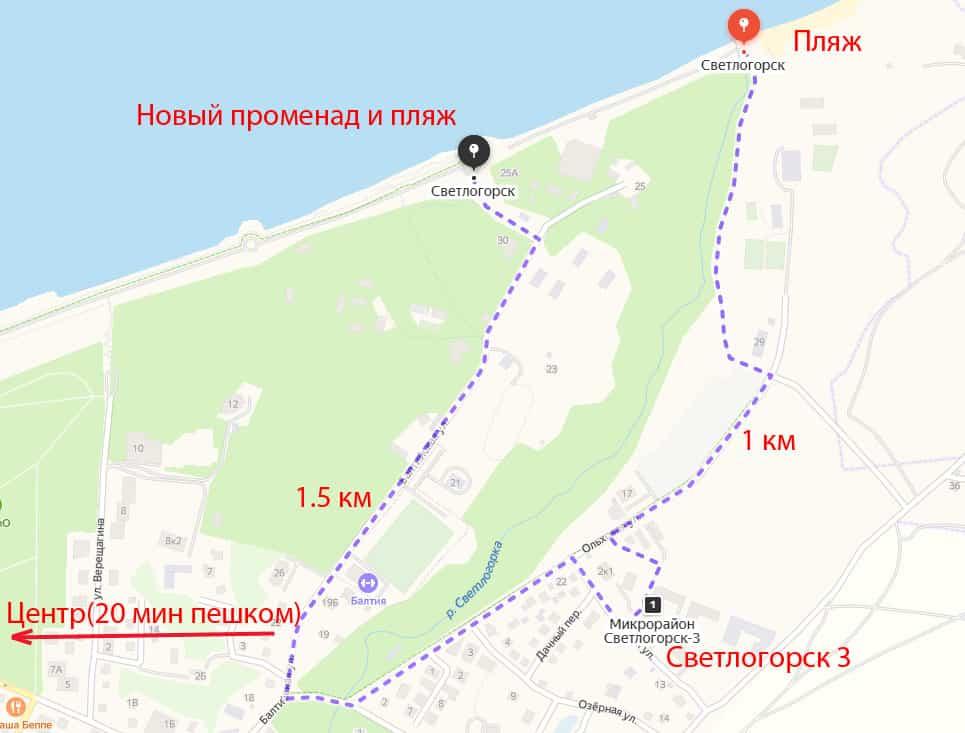 Карта прохода к морю от Светлогорска-3
