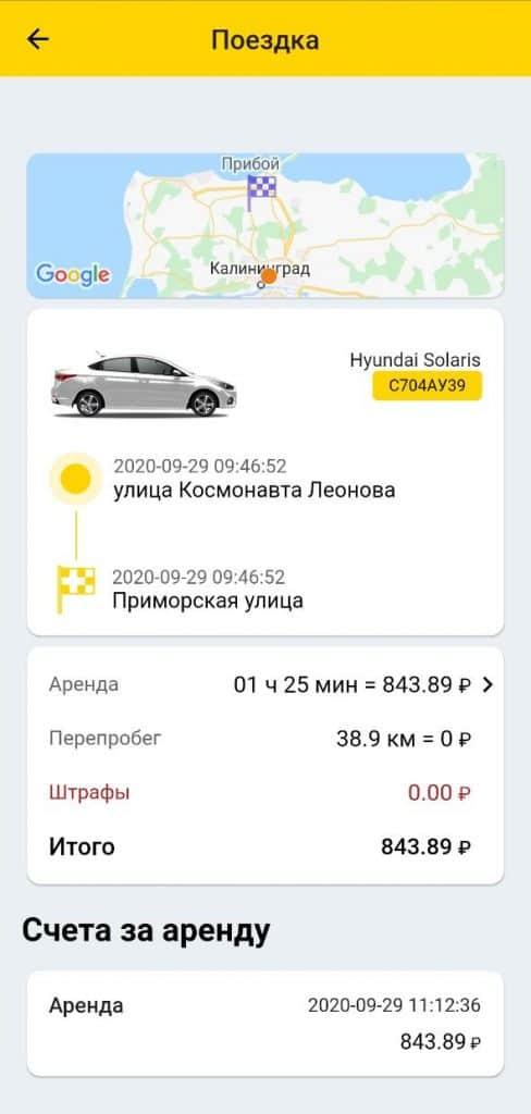 Каршеринг в Калининграде. Стоимость поездки Зеленоградск-Калининград