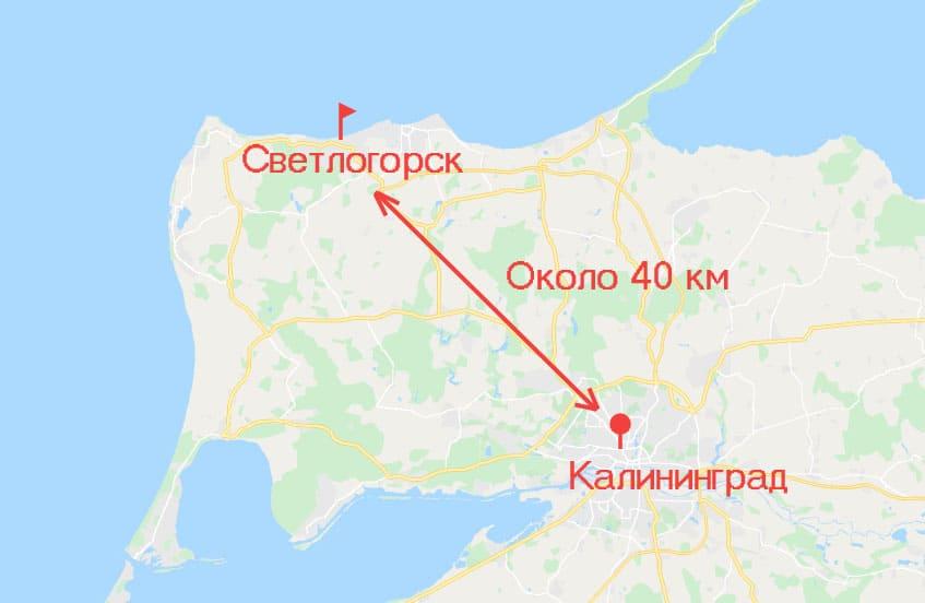 Расстояние между городами Калининград и Светлогорск.