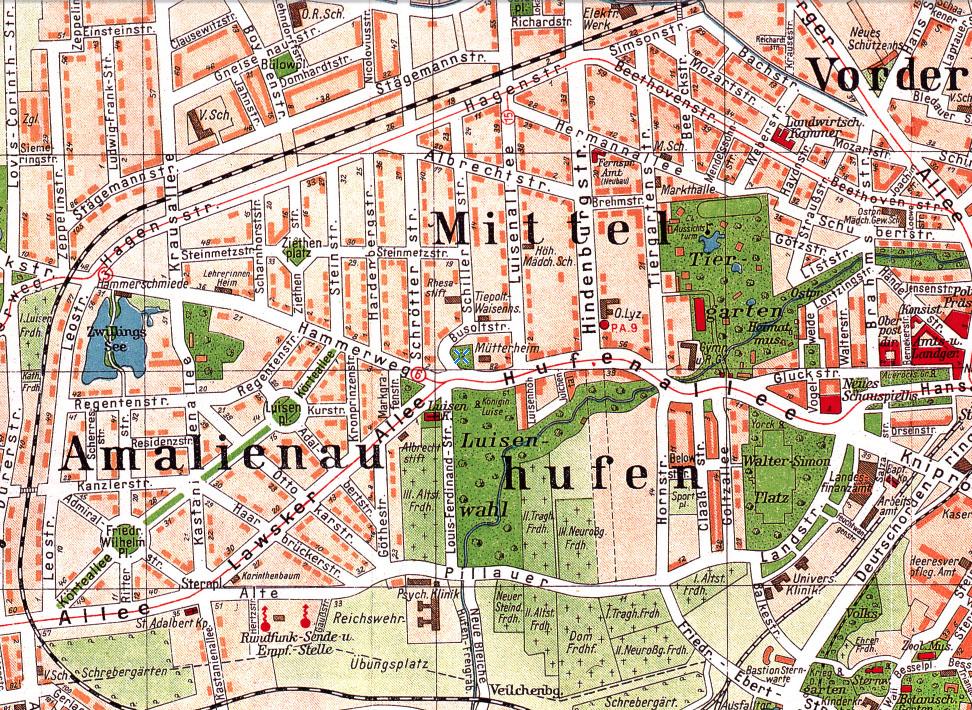 Амалиенау на карте 1928 года